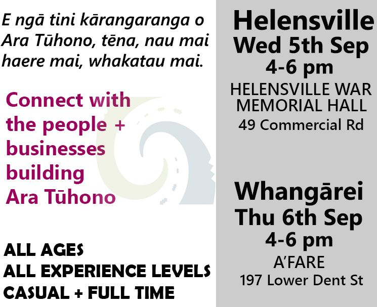 Employment events in Helensville & Whangārei – 5th & 6th Sep 2018, 4-6pm